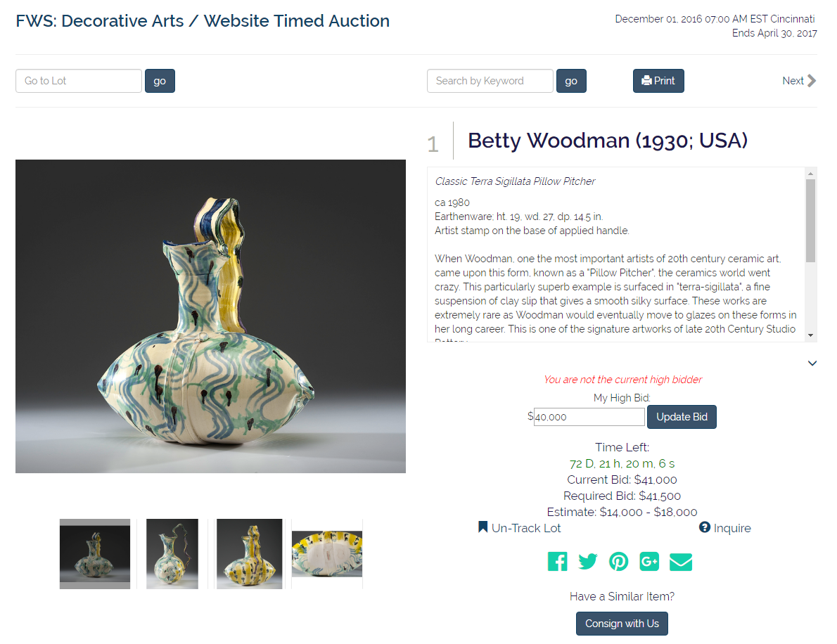 Betty Woodman 1930 USA Auction House Website