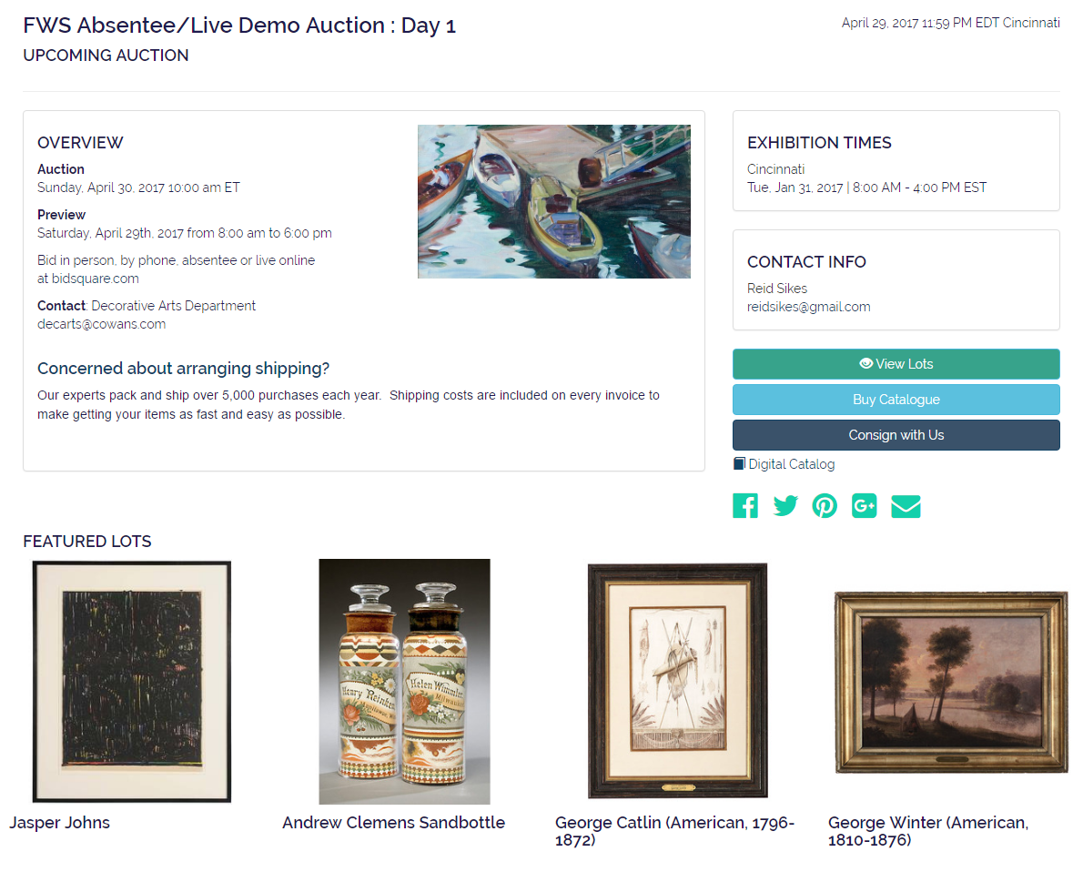 FWS Absentee Live Demo Auction Day 1 Auction House Website