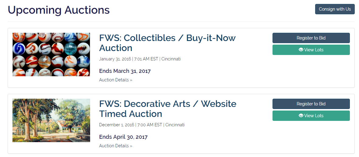 Upcoming Auctions Auction House Website