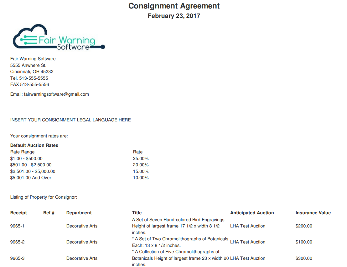 Auction Management Software Screen Shots